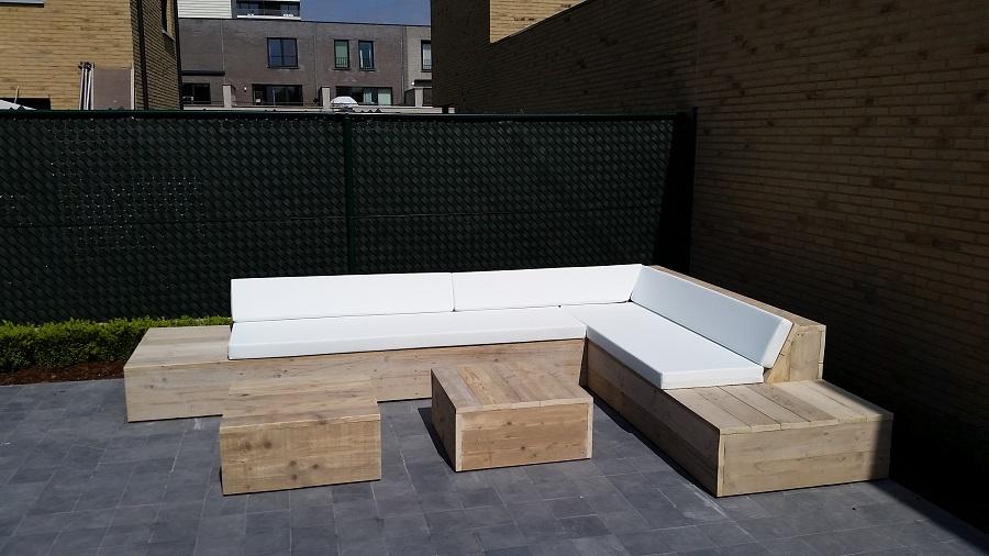 Steigerhouten Hoekbank Aanbieding.Design Lounge Hoekbank Sardinie